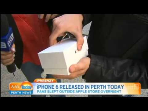 First person to buy iPhone in Perth drops it on camera