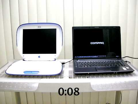 Bootup Challenge between an old Apple iBook and a Vista computer