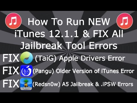 How To Run NEW iTunes 12.1.2 & Fix Apple Driver Errors for TaiG Fix Pangu, Redsn0w NO Downgrade Win