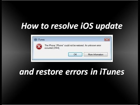 How to Resolve iOS update and restore errors in iTunes