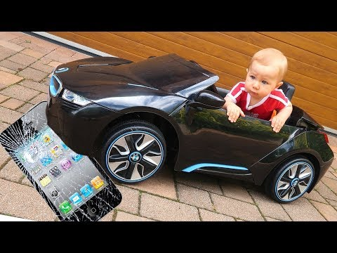 BAD BABY Crushes Mom's APPLE iPHONE 7 Under POWER WHEEL ride on Bmw i8